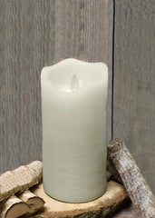 "ITEM 1571 IVORY - 3""X7"" IVORY RUSTIC FINISH MOVING FLAME LED PILLAR"