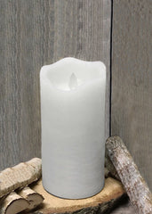 "ITEM 1571 W - 3""X7"" WHITE RUSTIC FINISH MOVING FLAME LED PILLAR"