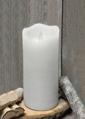 "ITEM 1572 W - 3""X8"" WHITE RUSTIC FINISH MOVING FLAME LED PILLAR"