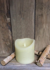 "ITEM 1573 IVORY - 4""X4"" IVORY RUSTIC FINISH MOVING FLAME LED PILLAR"