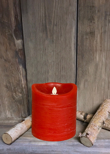 "ITEM 1573 R - 4""X4"" RED RUSTIC FINISH MOVING FLAME LED PILLAR"