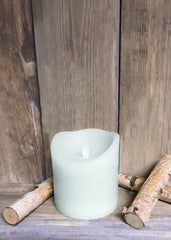 "ITEM 1573 W - 4""X4"" WHITE RUSTIC FINISH MOVING FLAME LED PILLAR"