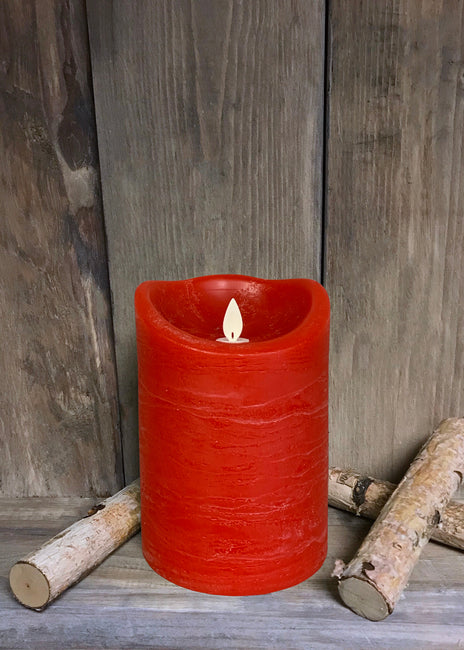 "ITEM 1574 R - 4""X6"" RED RUSTIC FINISH MOVING FLAME LED PILLAR"