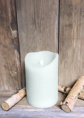"ITEM 1574 W - 4""X6"" WHITE RUSTIC FINISH MOVING FLAME LED PILLAR"
