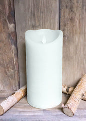 "ITEM 1575 W - 4""X8"" WHITE RUSTIC FINISH MOVING FLAME LED PILLAR"