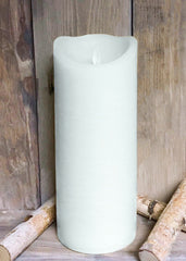 "ITEM 1576 W - 4""X10"" WHITE RUSTIC FINISH MOVING FLAME LED PILLAR"