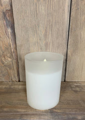 "ITEM 1582 W - 3""X4"" WHITE FROST GLASS HOLDER WITH MOVING LED FLAME"