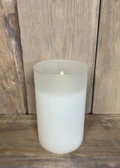 "ITEM 1583 W - 3""X5"" WHITE FROST GLASS HOLDER WITH MOVING LED FLAME"