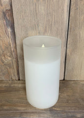 "ITEM 1584 W - 3""X6"" WHITE FROST GLASS HOLDER WITH MOVING LED FLAME"
