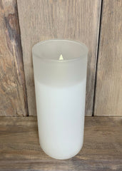 "ITEM 1585 W - 3""X7"" WHITE FROST GLASS HOLDER WITH MOVING LED FLAME"