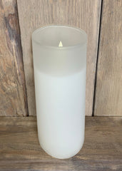 "ITEM 1586 W - 3""X8"" WHITE FROST GLASS HOLDER WITH MOVING LED FLAME"
