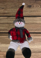 "ITEM 1705 - 22"" RED & BLACK PLAID SITTING SNOWMAN"
