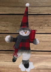 "ITEM 1706 - 14"" RED & BLACK PLAID SNOWMAN ON A SNOWFLAKE"