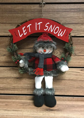 "ITEM 1716 - 13"" RED & BLACK PLAID SNOWMAN IN A LET IT SNOW WREATH"