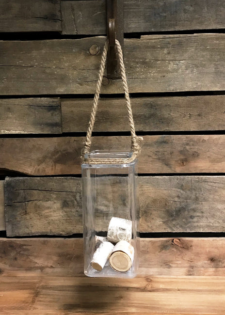 "ITEM 19322 - 4""X4""X9"" SQUARE VASE W/ROPE HANDLE"