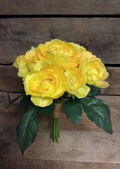 "ITEM 10138 Y - 10"" YELLOW CABBAGE ROSE BUNDLE WITH 9 HEADS"