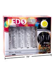 ITEM C 40333 - 5 LED ICICLE LIGHTS WITH TRY ME BOX