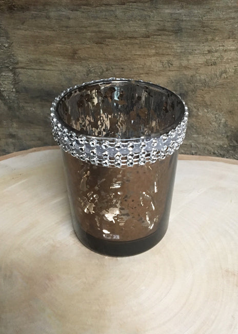 "ITEM 6082 BROWN - 2.5"" METALLIC BROWN HOLDER WITH CRYSTALS"