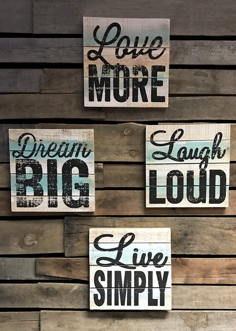 "ITEM C 66025 - 12""X12"" WOOD TEXT WALL SIGN, INSPIRATION"