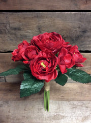 "ITEM 10138 R - 10"" RED CABBAGE ROSE BUNDLE WITH 9 HEADS"