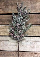 "ITEM 80894  - 19.5"" FROSTED CEDAR AND RED BERRIES SPRAY"