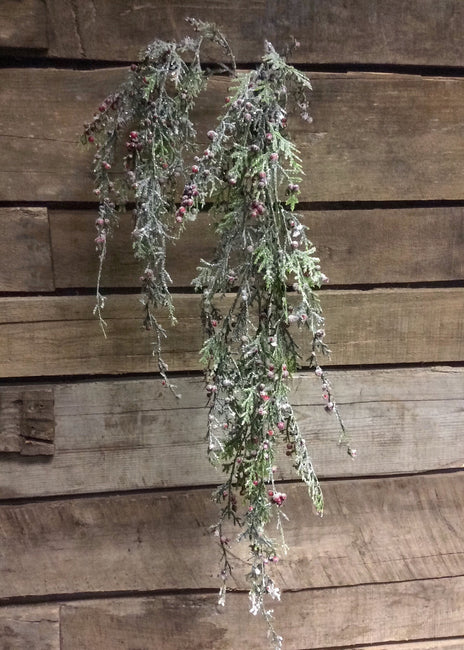 "ITEM 80994 R  - 45"" FROSTED CEDAR AND RED BERRIES HANGING SPRAY"