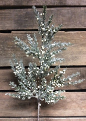 "ITEM 80993 -  19.5"" FROSTED CEDAR AND CREAM BERRIES SPRAY"