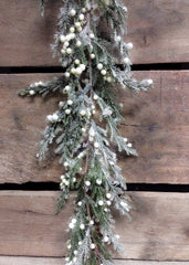 ITEM 80995 CM -  6 FOOT FROSTED CEDAR AND CREAM BERRIES GARLAND