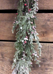 ITEM 80995 R -  6 FOOT FROSTED CEDAR AND RED BERRIES GARLAND
