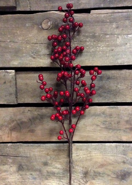 "ITEM 81083 R -  25"" RED OUTDOOR BERRY SPRAY WITH 5 BRANCHES"