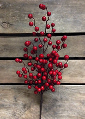 "ITEM 81084 R -  25"" RED OUTDOOR BERRY SPRAY WITH 6 BRANCHES"