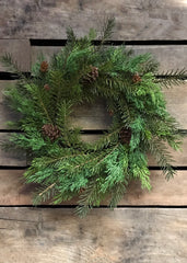 "ITEM 81106 -  16"" FRESH TOUCH CEDAR AND HEMLOCK WREATH"