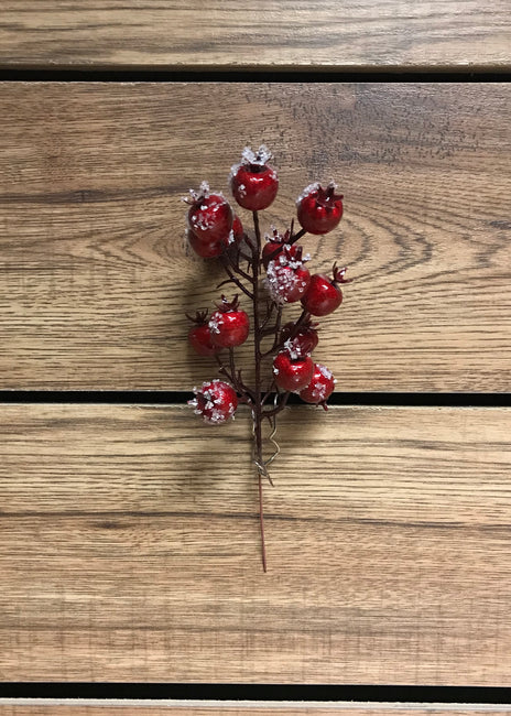"ITEM 81235 ICED - 8"" OUTDOOR RED ICED CRANBERRY PICK - 12 PIECES PER BAG"