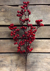 "ITEM 81239 R - 24"" RED OUTDOOR BERRY SPRAY WITH 6 BRANCHES"