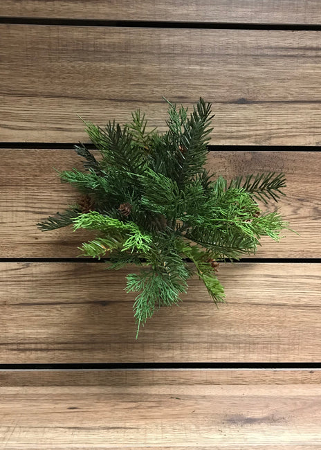 "ITEM 81257 - 12.5"" REAL TOUCH CEDAR AND HEMLOCK BUNDLE WITH PINE CONES"