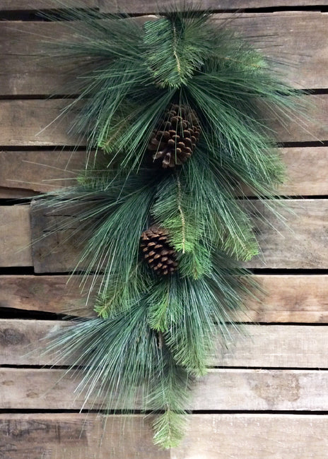"ITEM 81299 - 32"" MIXED PINE TEARDROP WITH PINE CONES"