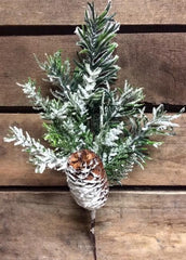 "ITEM 81338 - 13"" SNOWED MIXED CEDAR & JUNIPER SPRAY"