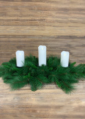 "ITEM 81390 - 34"" MIXED PINE CENTRE PIECE WITH 3, 3"" CANDLE HOLDERS"