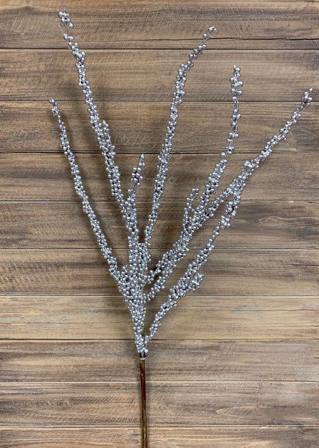 "ITEM 81476 SILVER - 36"" SILVER WEATHER RESISTENT BERRIES SPRAY"