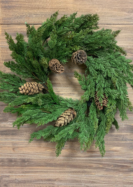 "ITEM 81486 - 28"" FRESH TOUCH CYPRESS PINE AND PINE CONE WREATH"