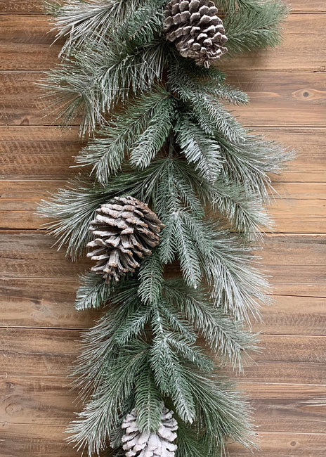 ITEM 81547 - 6' SNOWY FROSTED PINE AND PINE CONE MIXED GARLAND