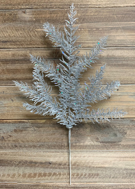 "ITEM 81562 SILVER - 19"" GLITTERED SILVER NOBLE FIR SPRAY"