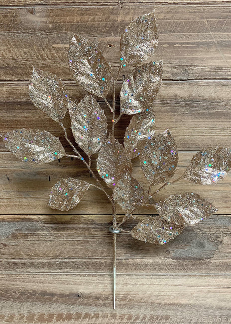 "ITEM 81563 CH - 17"" CHAMPAGNE GLITTERED APPLE LEAF SPRAY"