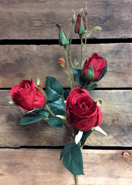 "ITEM 00945 R - 21"" RED ROSE SPRAY WITH 3 HEADS"
