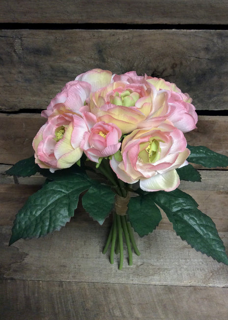 "ITEM 10138 CMPK - 10"" CREAM PINK CABBAGE ROSE BUNDLE WITH 9 HEADS"