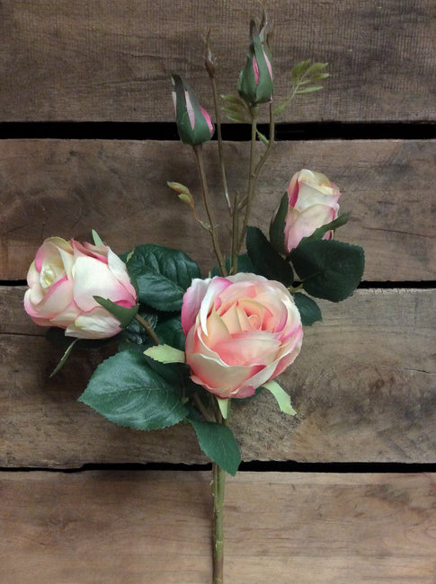 "ITEM 00945 CMPK - 21"" CREAM PINK ROSE SPRAY WITH 3 HEADS"