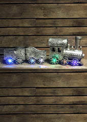 "ITEM G2157840 - 35.25""L BATTERY OPERATED LIGHTED MUSICAL SILVER METAL HOLIDAY TRAIN"