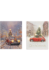"ITEM G2352770 - 20""H B/O LIGHTED CANVAS ANTIQUE CAR HOLIDAY SCENE WALL HANGING"
