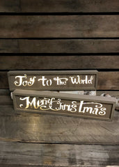 "ITEM G2353560 - 15.5""L B/O LIGHTED WOOD HOLIDAY SIGN BLOCK"
