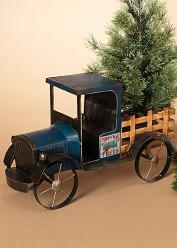"ITEM G2420220 - 19""L METAL ANTIQUE BLUE TRUCK WITH SEASONAL MAGNETS"